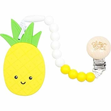 glitter and spice Glitter & Spice Silicone Clip-On Teether Pineapple