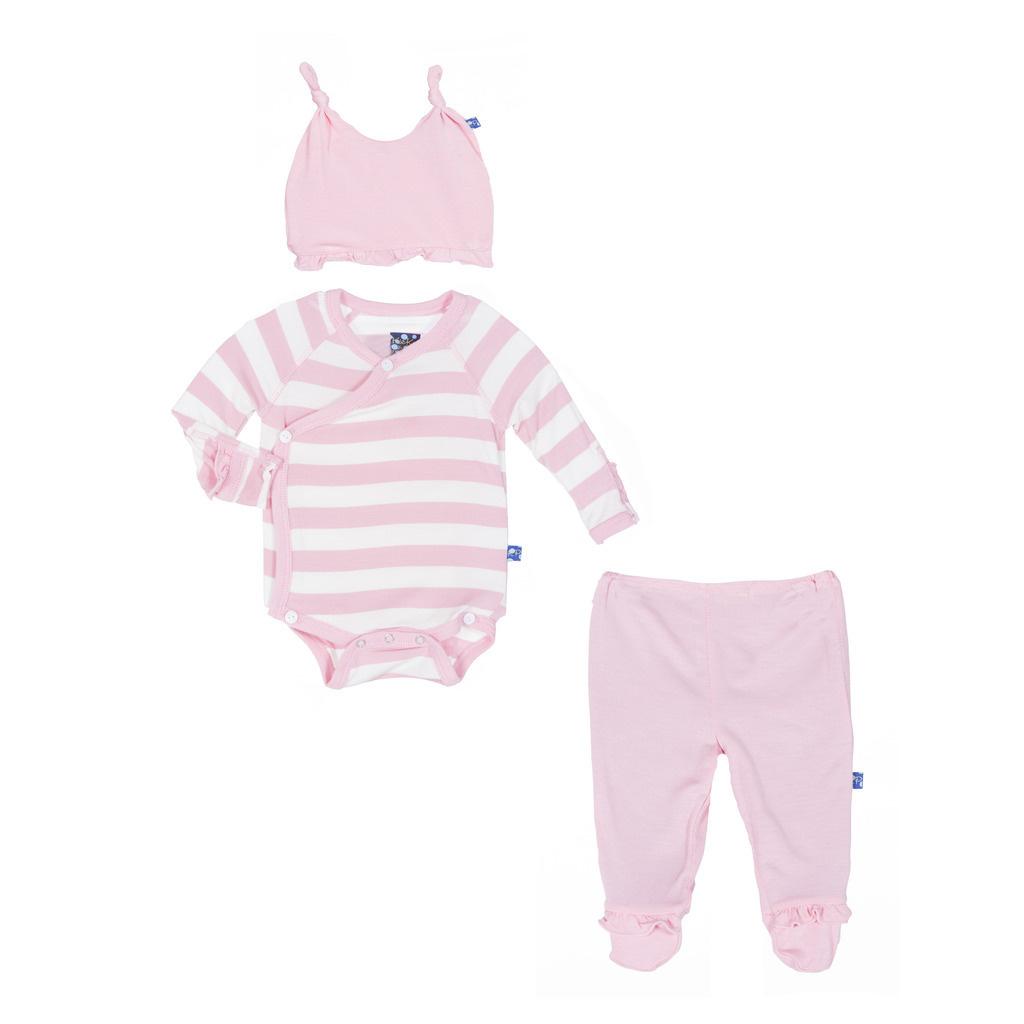KicKee Pants KicKee Pants Essentials Ruffle Kimono Newborn Gift Set Lotus Stripe