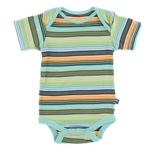 KicKee Pants KicKee Pants Short Sleeve Onesie - Cancun Glass Stripe