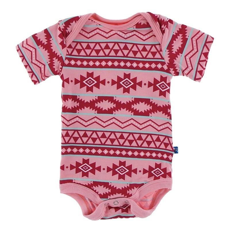 KicKee Pants KicKee Pants Short Sleeve Onesie - Strawberry Mayan Pattern