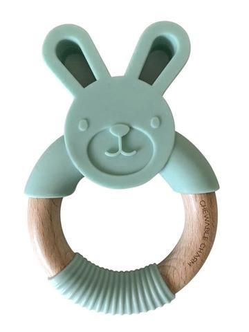Chewable Charm Bunny Silicone + Wood Teether