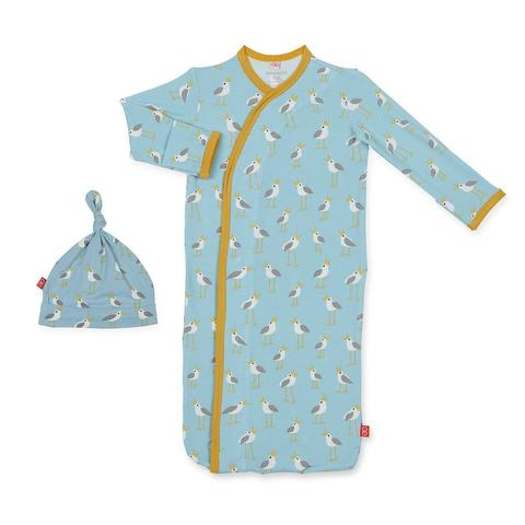 Magnetic Me Magnetic Me Modal Sack Gown + Hat - Blue Plovers (NB-3m)