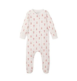 Feather Baby Zipper Footie - Crawfish on White