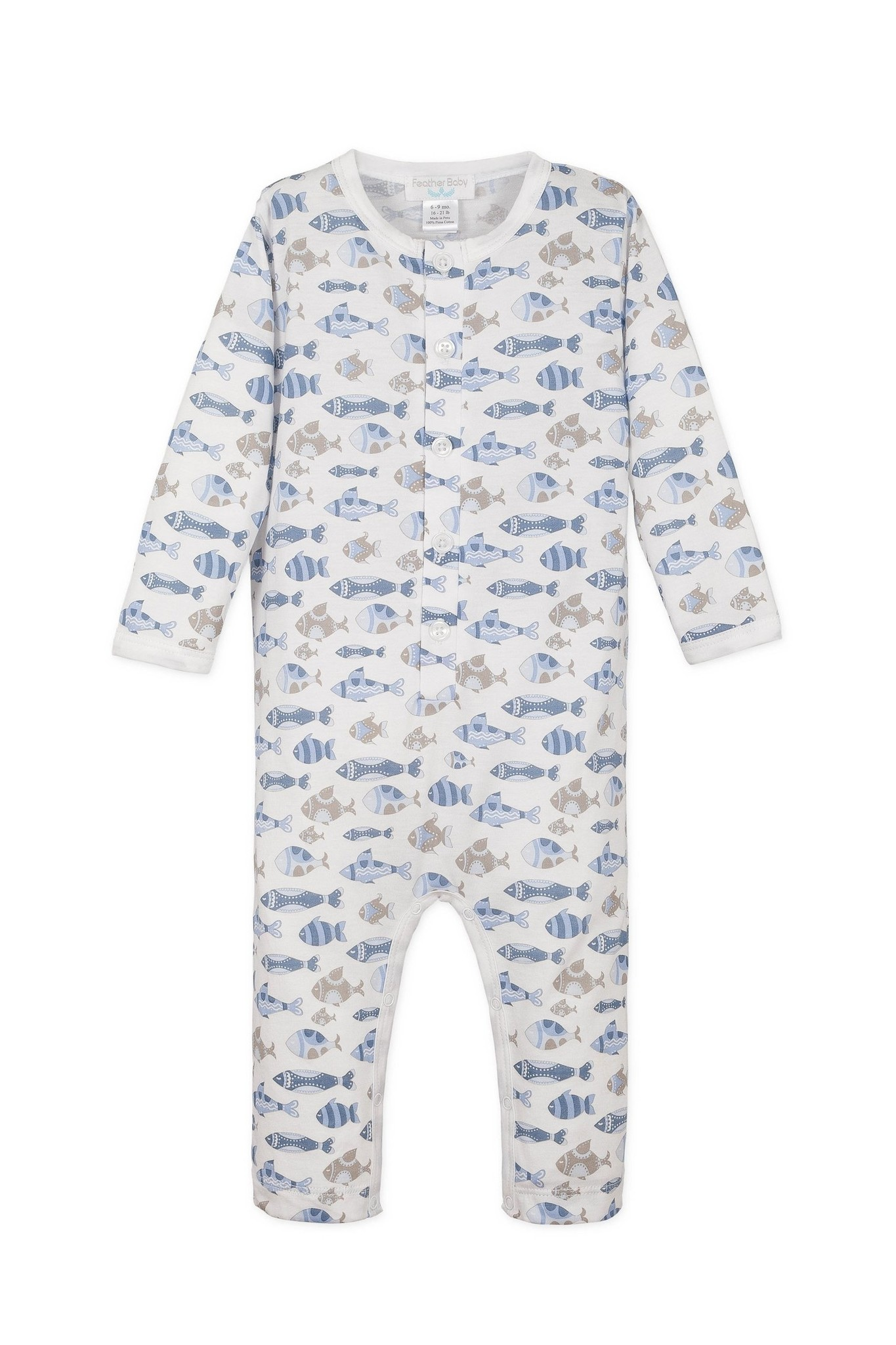 Feather Baby Long John Skinny Fish - Blue on White