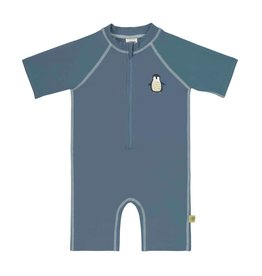 LASSIG Short Sleeve Sunsuit - Penguin Niagara Blue