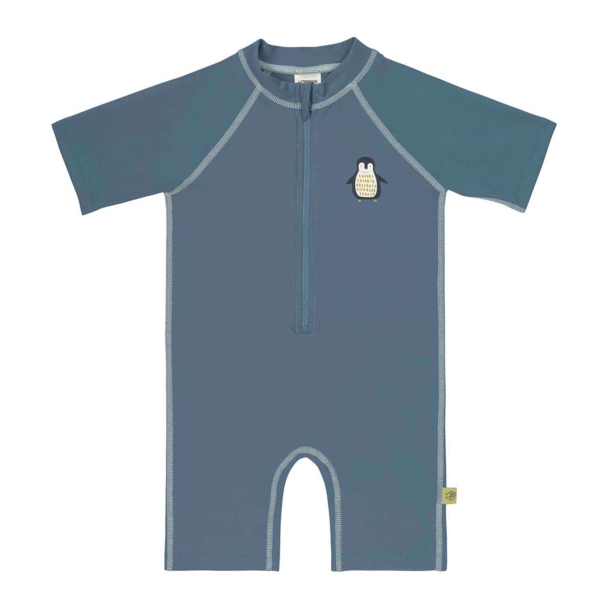 LASSIG Short Sleeve Sunsuit - Penguin Niagara Blue