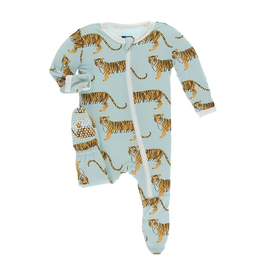 KicKee Pants KicKee Pans Footie with Zipper - Spring Sky Tiger