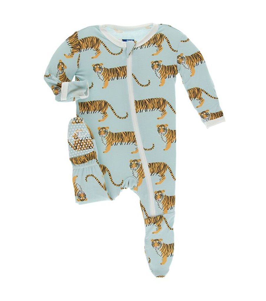 KicKee Pants KicKee Pans Footie with Zipper - Spring Sky Tiger