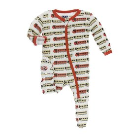 KicKee Pants KicKee Pants Footie with Zipper - Natural Indian Train