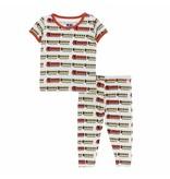 KicKee Pants KicKee Pants Short Sleeve Pajama Set - Natural Indian Train
