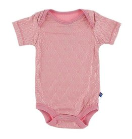 KicKee Pants KicKee Pants Short Sleeve Onesie - Desert Rose Gold Leaf