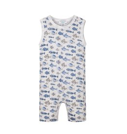 Feather Baby Tanked Romper - Skinny Fish - Blue on White