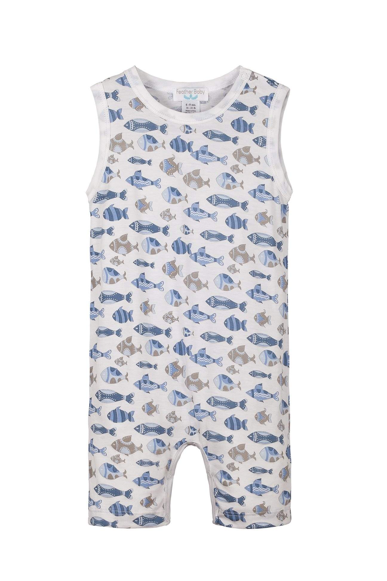 Feather Baby Tanked Romper- Skinny Fish- Blue on white.