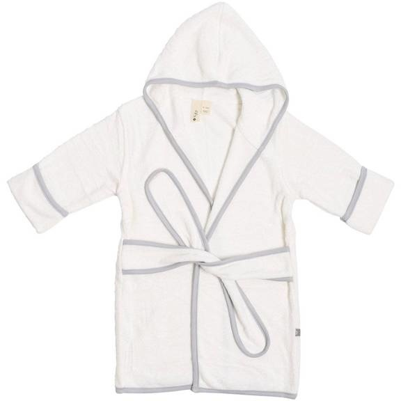 Kyte Baby Kyte Baby Bamboo Terry Bath Robe - Cloud with Storm Trim