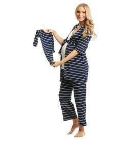 Everly Grey Everly Grey Analise 5-Piece Mom & Newborn Baby PJ Set - Navy Stripe
