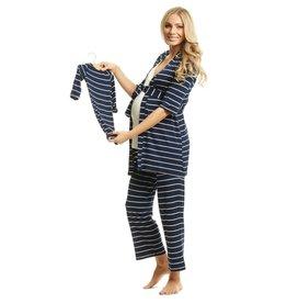 Everly Grey Everly Grey Analise 5-Piece Mom & Newborn Baby PJ Set - Navy Stripe