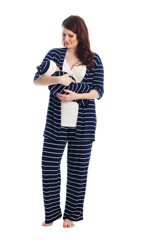 Everly Grey Everly Grey Analise 5-Piece Mom & Newborn Baby PJ Set - Navy Stripe (free $20 Gift with Purchase)