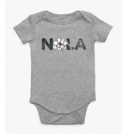 Le Petitee NOLA Magnolia Short Sleeve Onesie Heather Grey -