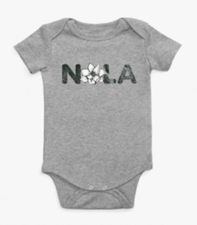 Le Petitee NOLA Magnolia Short Sleeve Onesie Heather Grey -