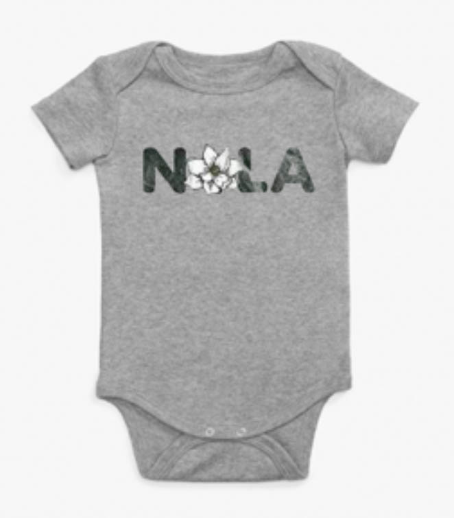 NOLA Magnolia Short Sleeve Onesie Heather Grey -