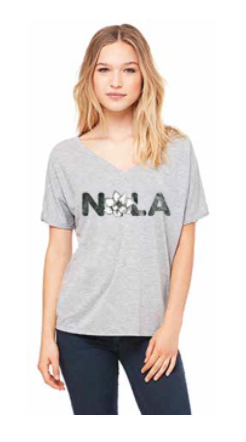NOLA Magnolia Short Sleeve Adult V-Neck Heather Grey -
