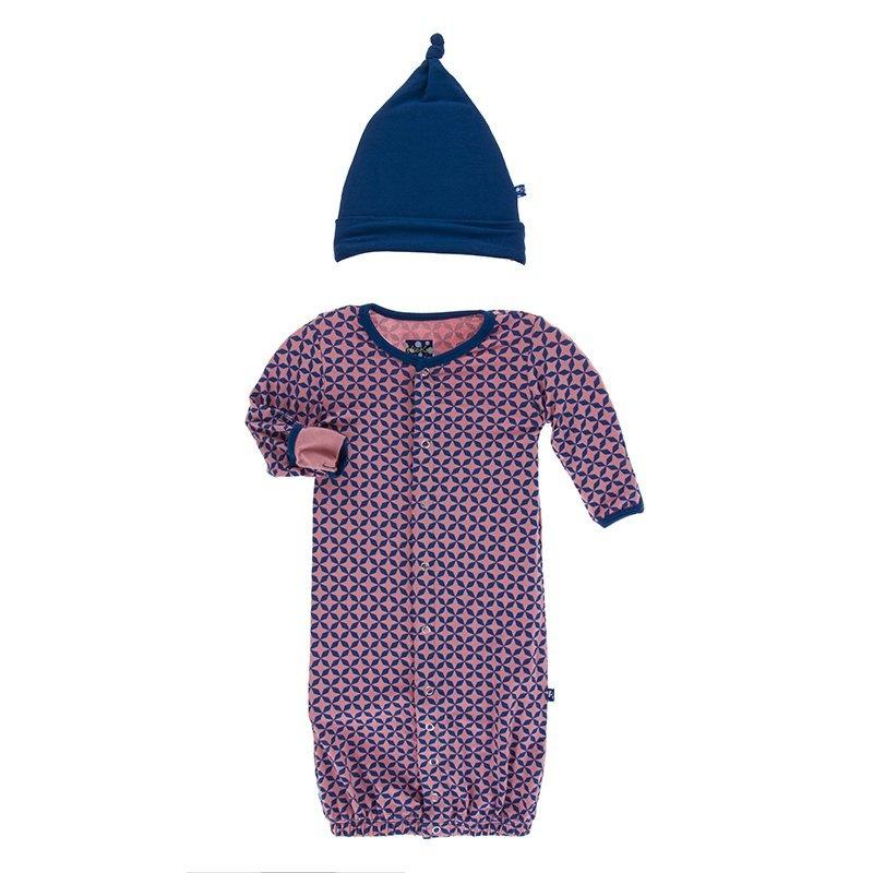 KicKee Pants KicKee Pants Converter Gown & Knot Hat Set - Taj Mahal 0-3m