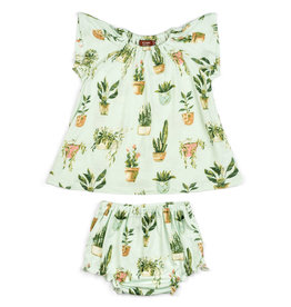 Milkbarn Milkbarn Bamboo Dress & Bloomer Set - Potted Plants