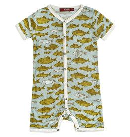 Milkbarn Milkbarn Bamboo Shortall - Blue Fish