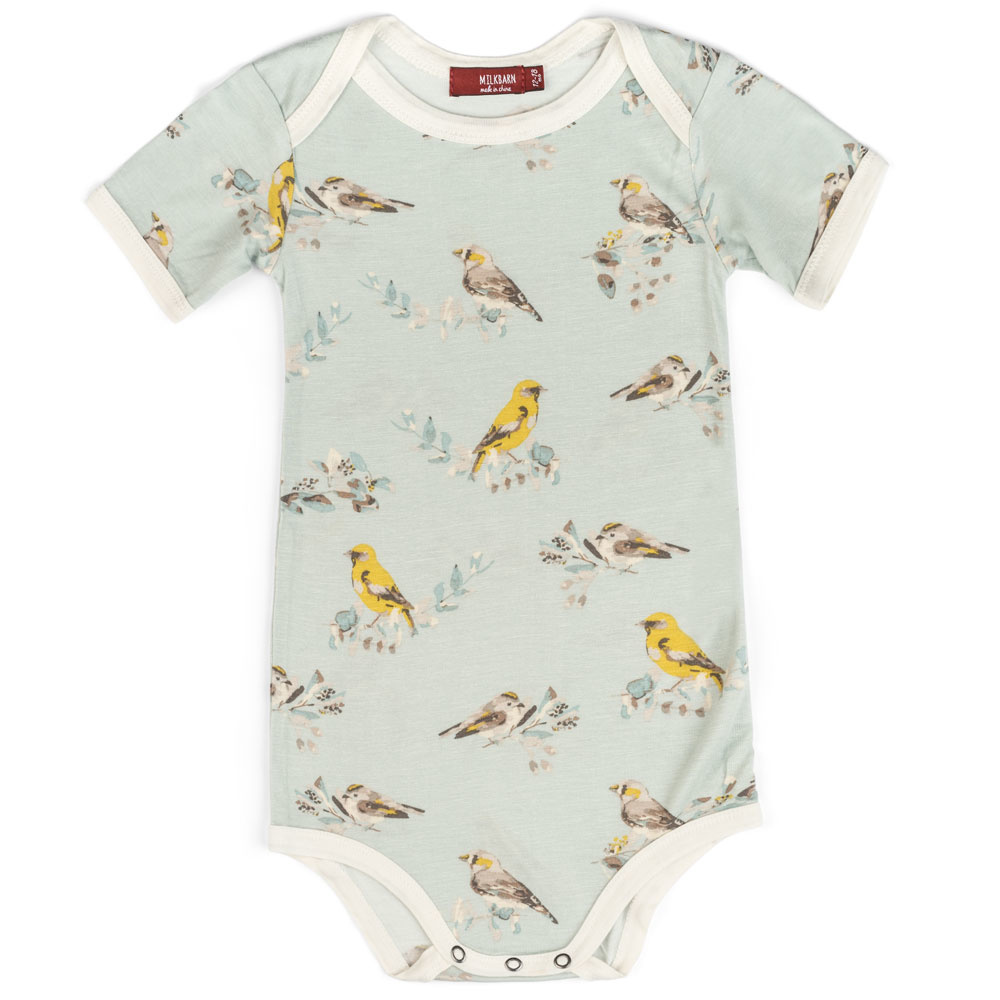 Milkbarn Milkbarn Bamboo Onesie - Blue Birds