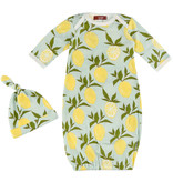 Milkbarn Milkbarn Newborn Gown & Hat Set - Lemon - 0-3mo