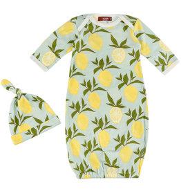 Milkbarn Milkbarn Newborn Gown & Hat Set - Lemon - 0-3mo