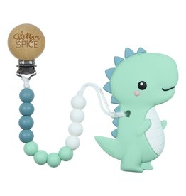 glitter and spice Glitter & Spice Clip On Silicone Teether - T-Rex Dino
