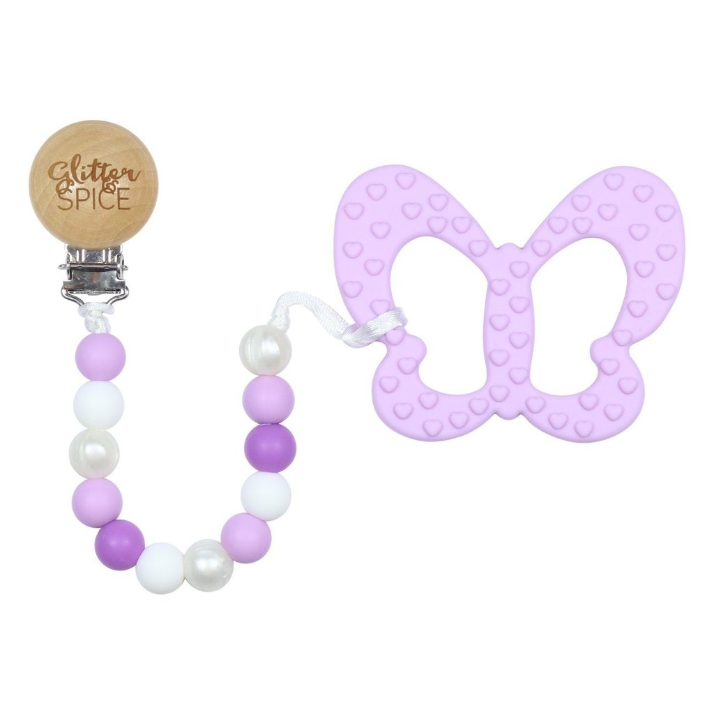 glitter and spice Glitter & Spice Clip On Silicone Teether - Lilac Butterfly