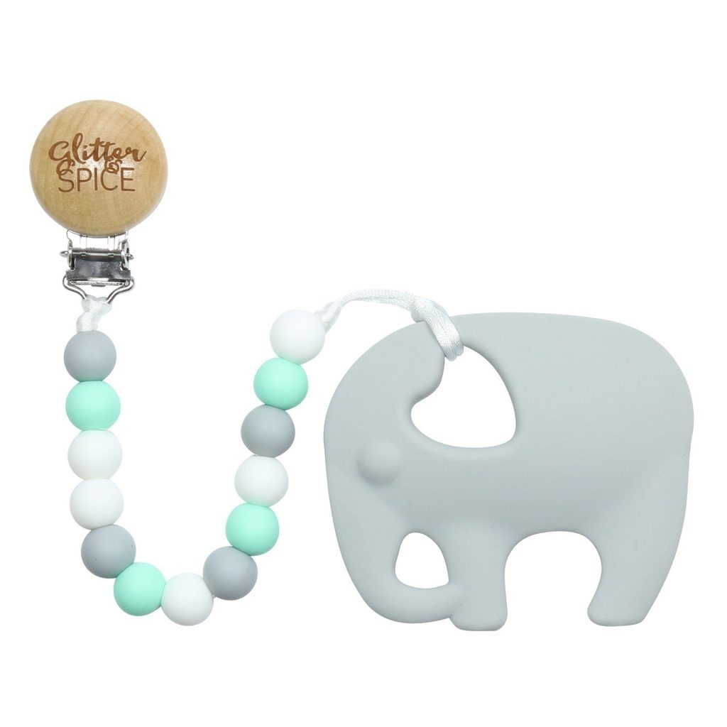 glitter and spice Glitter & Spice Clip on Teether - Elephant Seraphina