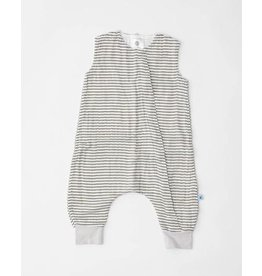 little unicorn little unicorn Cotton Muslin Sleep Romper - Grey Stripe