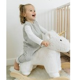little unicorn little unicorn Cotton Muslin Sleep Romper - Grey Stripe