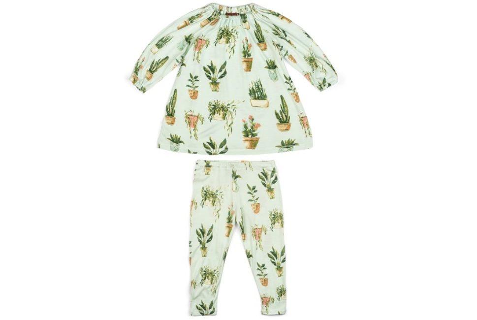 Milkbarn Milkbarn Bamboo Long Sleeve Dress and Legging Set - Potted Plants