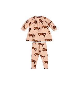 Milkbarn Milkbarn Organic Long Sleeve Dress and Legging Set - Horse