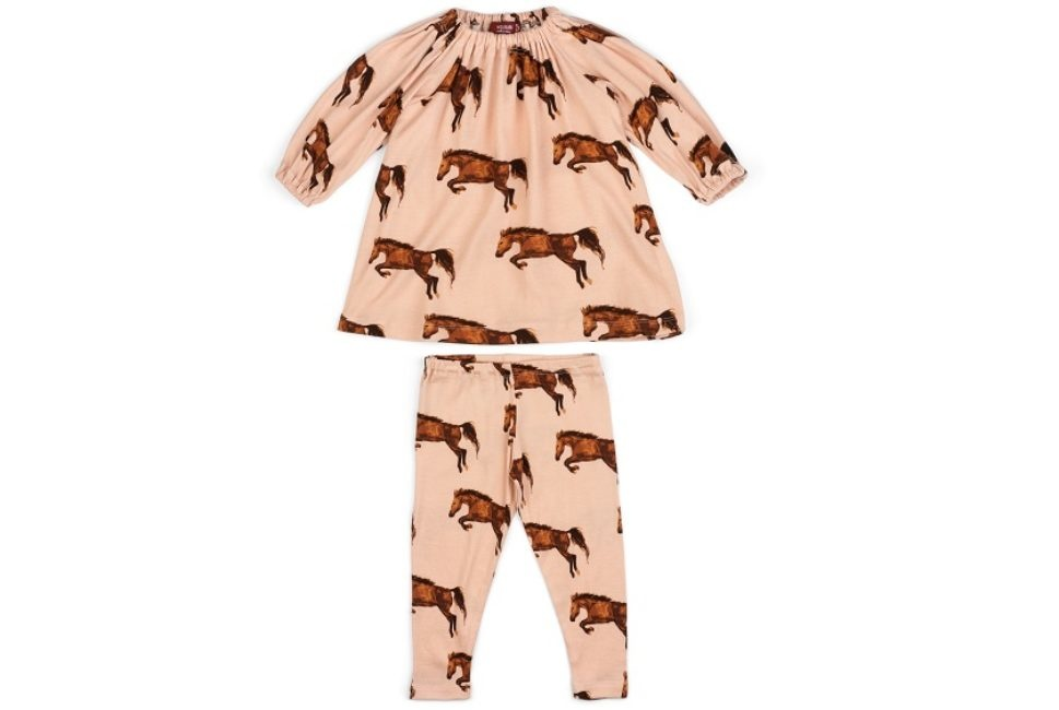 Milkbarn Milkbarn Organic Long Sleeve Dress and Legging Set - Horse