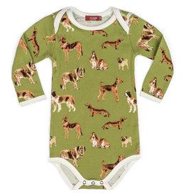 Milkbarn Milkbarn Organic Long Sleeve Onesie - Green Dog