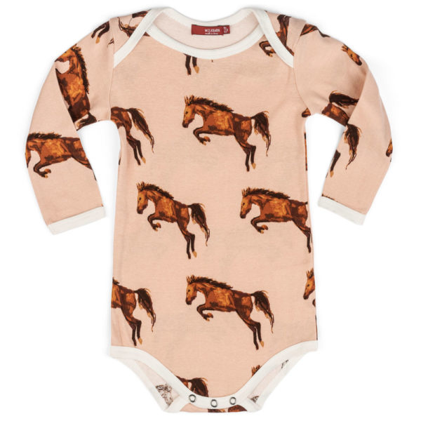 Milkbarn Milkbarn Organic Long-Sleeve Onesie - Horse