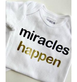 Laurel & Octavia Black & Gold Miracles Happen Onesie