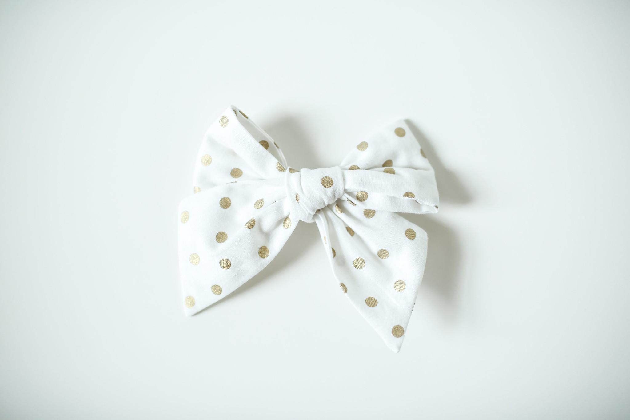 Nola Tawk Gold on White Confetti Sailor Bow