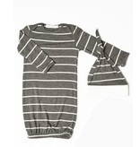 Everly Grey Everly Grey Analise 5-Piece Mom & Newborn Baby PJ Set - Charcoal Stripe