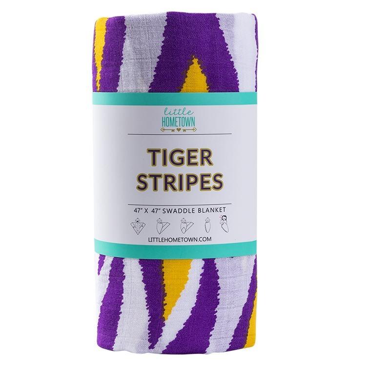 Little Hometown LSU Tiger Stripe Bamboo Swaddle Blanket