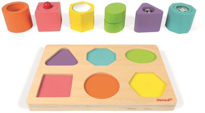 Janod Toys Janod I-Wood Shapes & Sounds 6-block Puzzle
