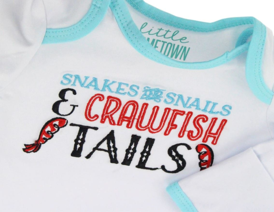 Little Hometown Crawfish Tails Embroidered Gown