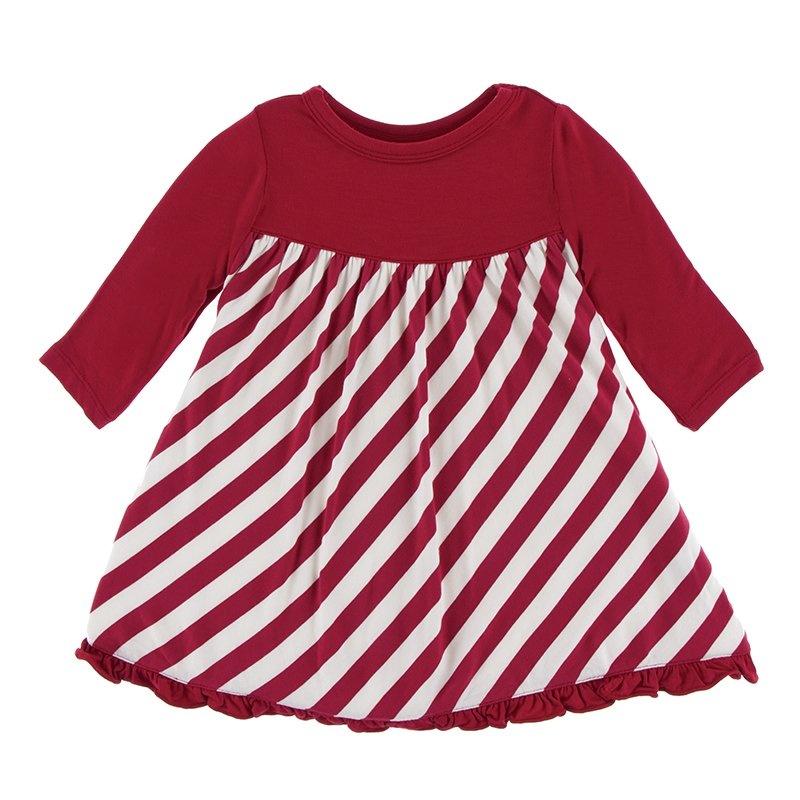 KicKee Pants KicKee Pants Classic Long Sleeve Swing Dress - Candy Cane Stripe