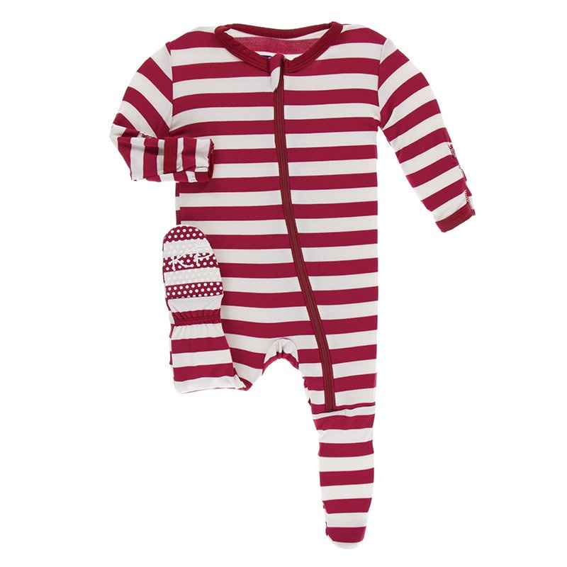 KicKee Pants KicKee Pants Footie with Zipper - Candy Cane Stripe