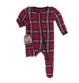 KicKee Pants KicKee Pants Footie with Zipper - Christmas Plaid